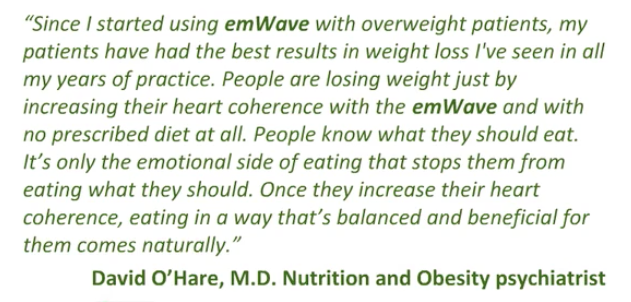 Doctor testimonial about emWaVE FOR WEIGHT management