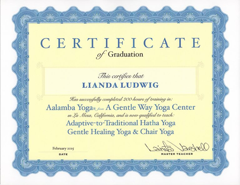 certificate for Lianda, yoga instructor