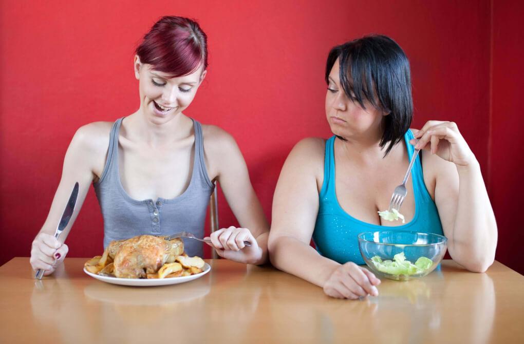 Skinny woman eats real food, fat woman eats only lettuce