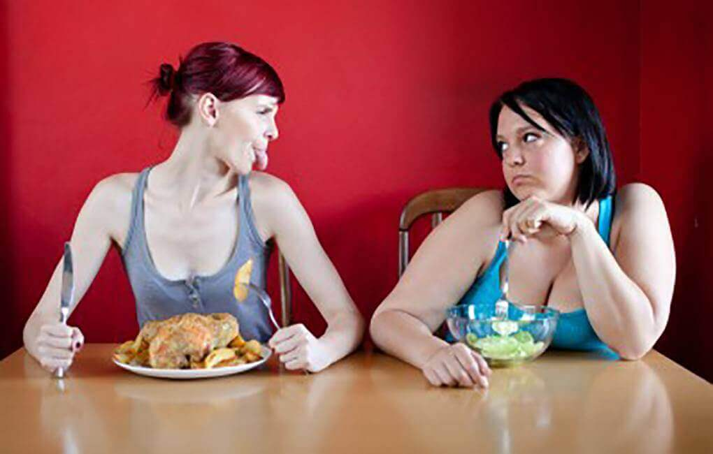 skinny woman eats a lot and doesn't gain weight, plus size eats lettuce and can't maintain weight loss