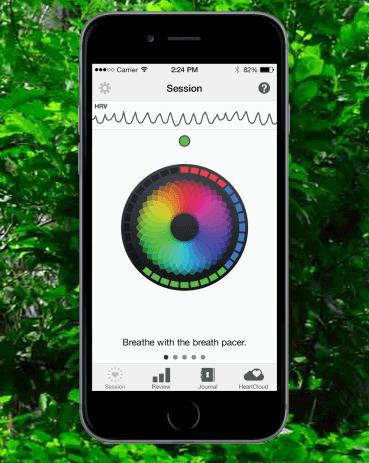 photo of Inner Balance biofeedback stress app on a smart phone