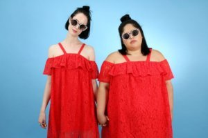 sisters who have difference body types, one thin one heavy