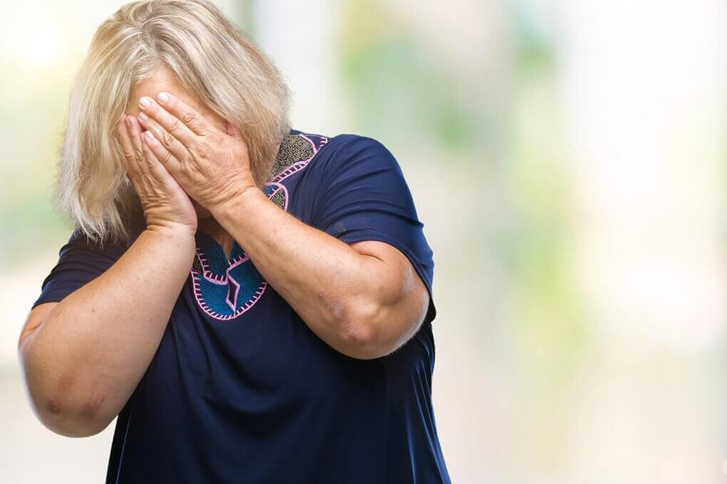mature woman feel ashamed and depressed