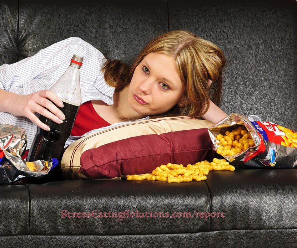 Bored woman over-eating